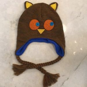 Other - Kids knit hat with owl face and fleece lining O/S